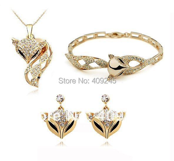 Aliexpress Buy free shipping fox shaped cheap costume jewelry set silve