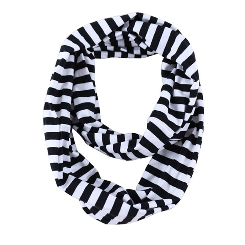 Black white striped knit cotton baby girls scarf ,striped baby scarf ,baby birthday gift ,baby infinity scarf(China (Mainland))