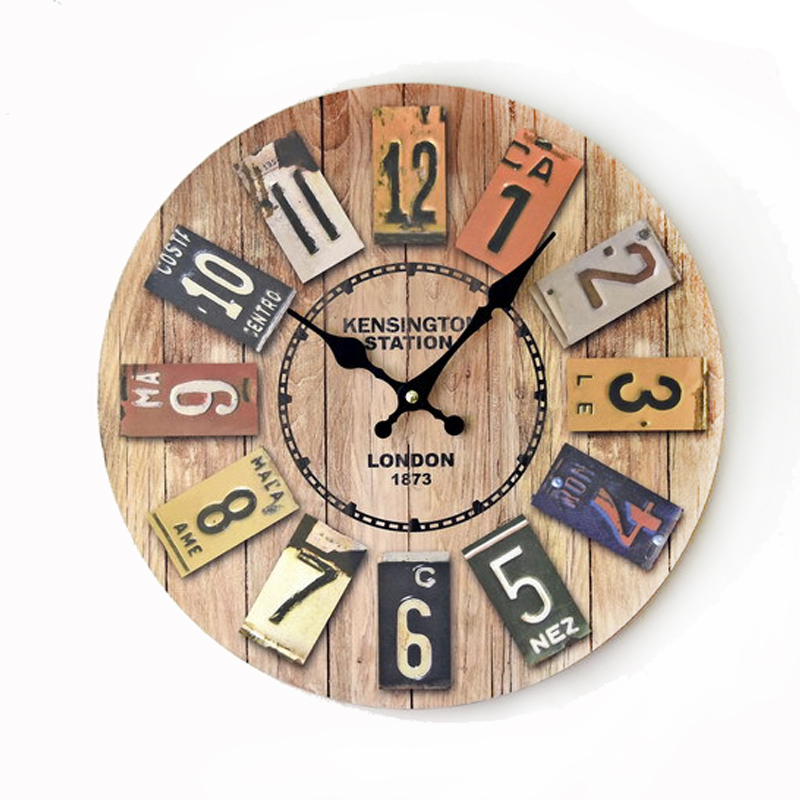 London 1873 3D Wall Clock 14 Inch Vintage Retro Home Decorations Round Solid Wood Wall Clocks Quarz Digital Silent Clock(China (Mainland))