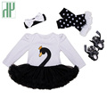 Christmas baby girl clothes 4pcs Swan infant clothing Suit Princess Tutu Romper Dress Jumpsuit Party Birthday