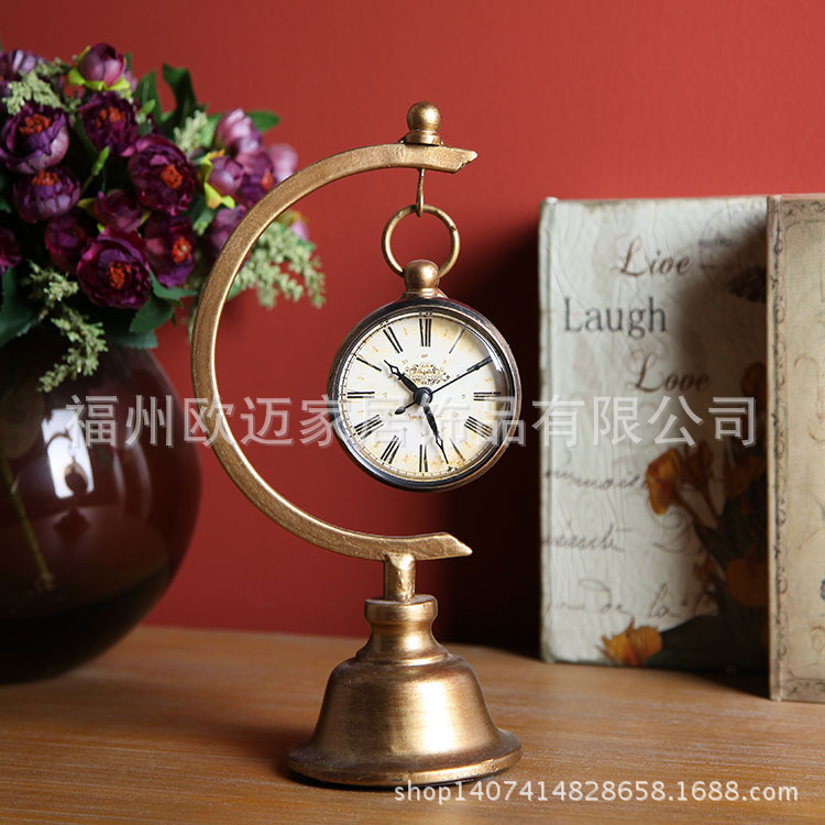 European retro classic wrought iron ornaments shaped mini pocket watches American table clock sample room office decorations<br><br>Aliexpress