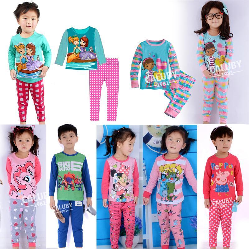 doc mcstuffins t shirt pants pajamas suit baby girls Cartoon Pajamas set For boys girls Sleep Wear Clothing children pajamas set(China (Mainland))