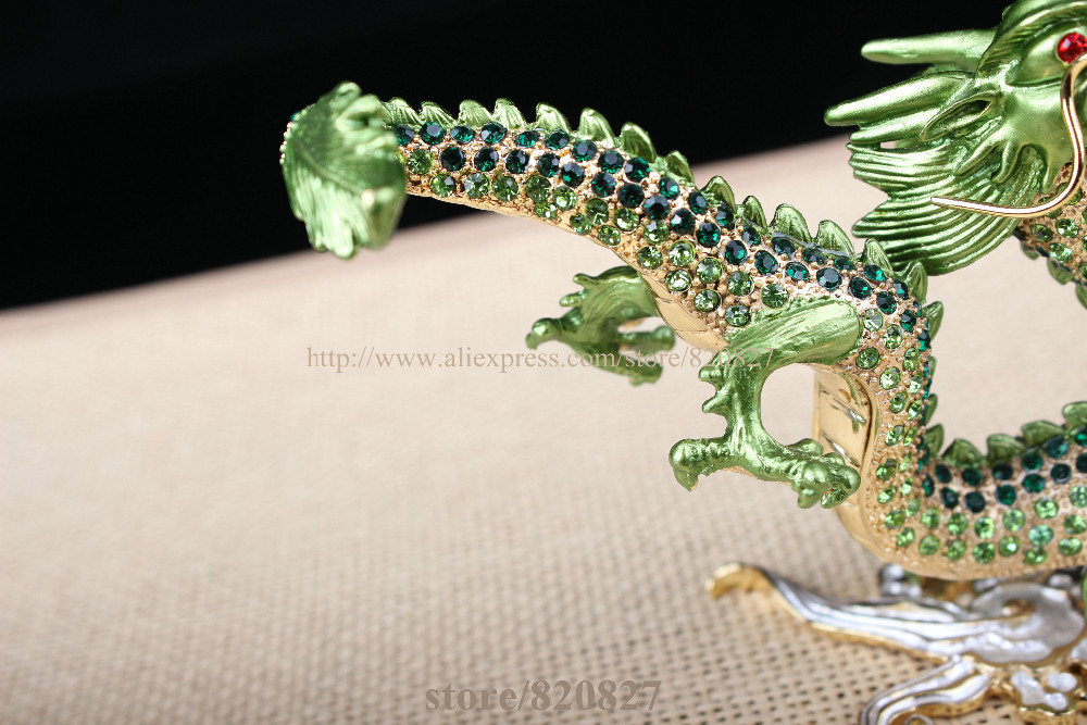 crystal dragon trinket box chinese dragon textured decorative rhinestone enamel gift display cases dragon design keepsake statue