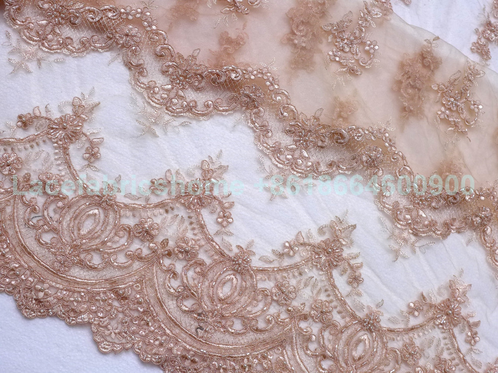 Buy new fashoin off white nude beaded for Wedding dress lace fabric