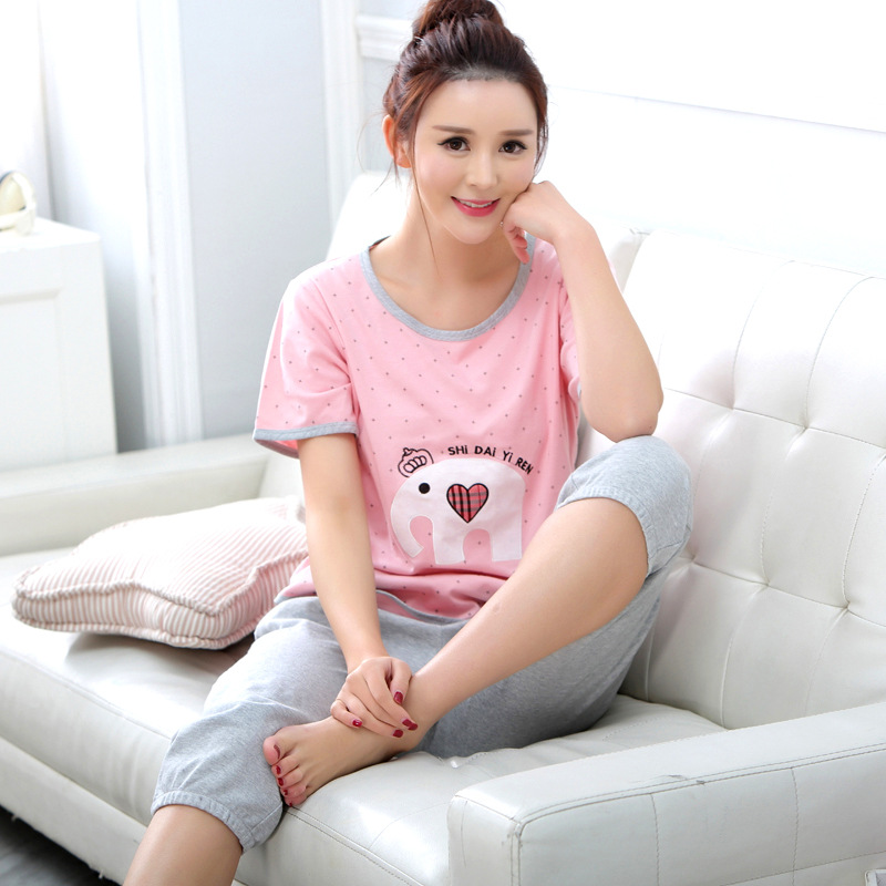 Summer sleepwears women Cartoon Printing pajama sets Girls Nightgown 2016 Summer Women pijamas mujer verano(China (Mainland))
