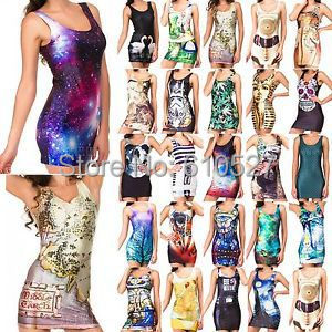 Palicy Summer Vetidos Clubbing Funky Casual Dancers Galaxy Vest TOP Party Dress New Fashion Space Swimwear Beachwear Denim Dress(China (Mainland))