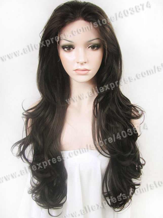 Retail/Wholesale Promotin N12-2/6  26inch/66cm Fashion Wavy Nature Black Color Synthetic lace Front  wig<br><br>Aliexpress