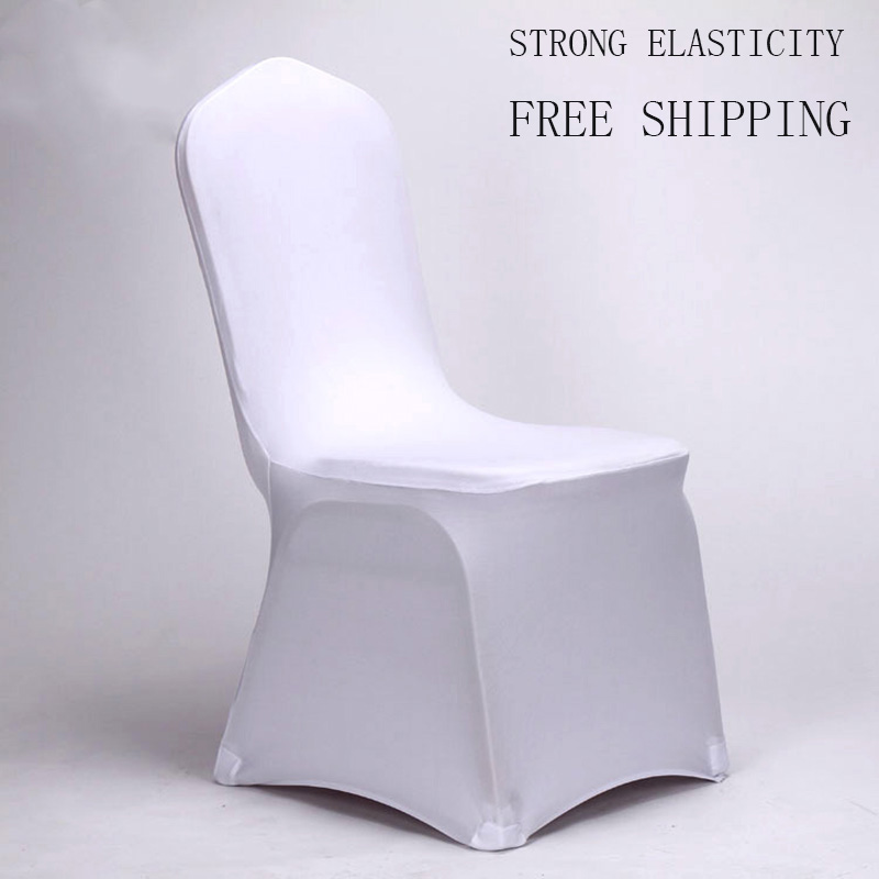 10 pcs Universal Slipcovers White Stretch Spandex for Wedding Party Chair Covers Banquet Hotel Decoration Machine Washable(China (Mainland))
