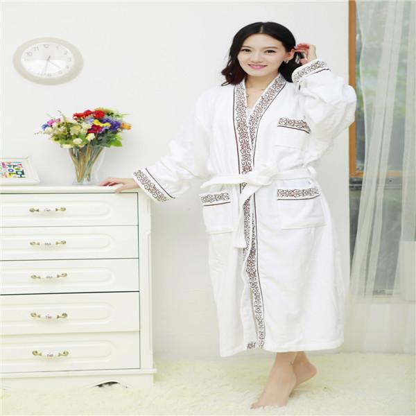 2015 Hot Full Length Cotton Velour White Kimono Collar Bathrobe Unique Embroidery Hotel Robe(China (Mainland))