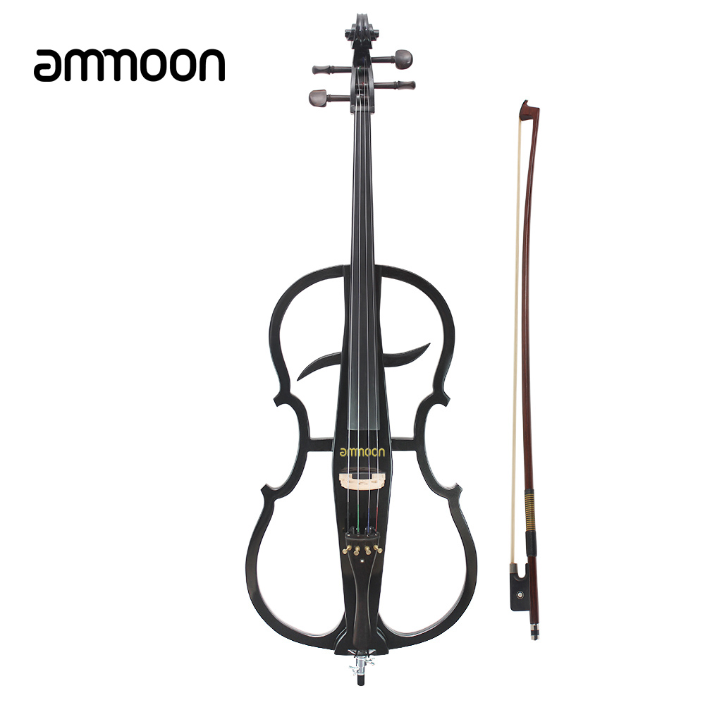 ammoon 4/4 Cello High Quality Solid Wood Electric Cello Violoncello Ebony Fittings in Style 1 with Tuner Headphone Gig Bag(China (Mainland))