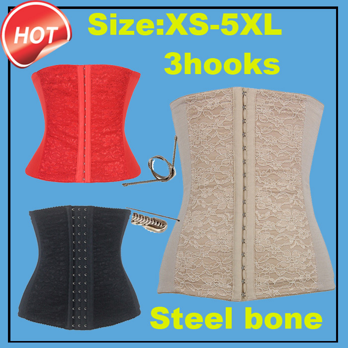 Lace body shapers women shaper waist cincher steel bone Trainer corsets 3 hooks corselet slimming belt S-5xl - Green textile Co., LTD store