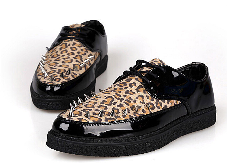 New 2016 leopard shoes sapatos masculinos creepers men chaussure homme men shoes