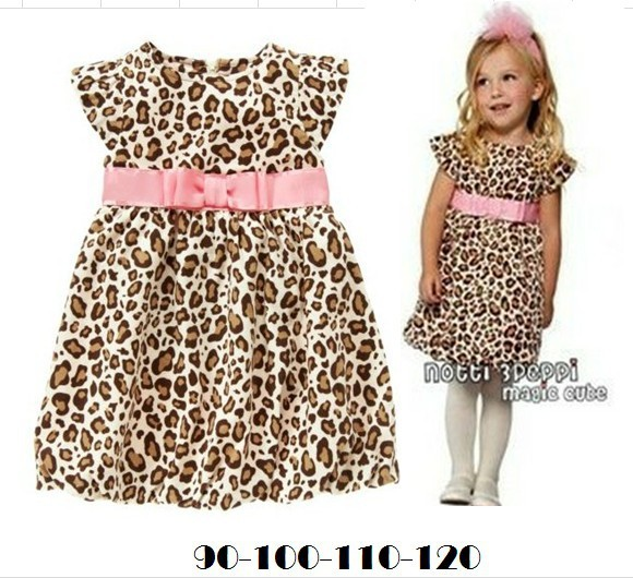 freeshipping!!!2013 Summer children fashion dress girls pink Belt fly sleeve leopard dress,4pcs/lot