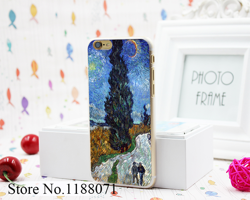 Country Road in Provenceb by van gogh Design Hard Clear Skin Transparent for iPhone 6 6s 6+ 6 Plus Case Cover(China (Mainland))