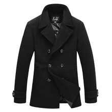 Wholesale 20415 winter wool men coat men business casual windbreaker jacket double-breasted single split black jacket(China (Mainland))