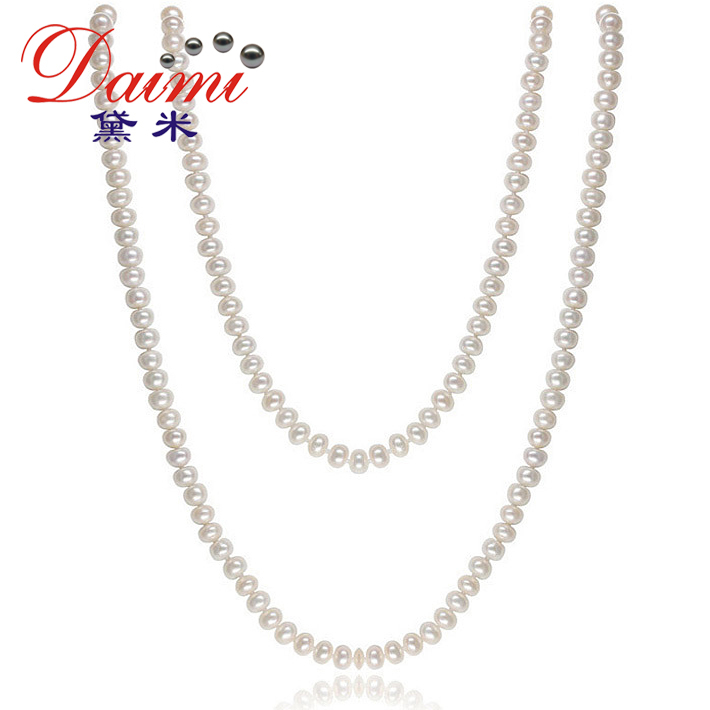 DAIMI 2015 Jewelry Pearl Necklace 7-8mm Natural Freshwater Pearl White Sweater Chain For Women Long Necklace CLARA(China (Mainland))