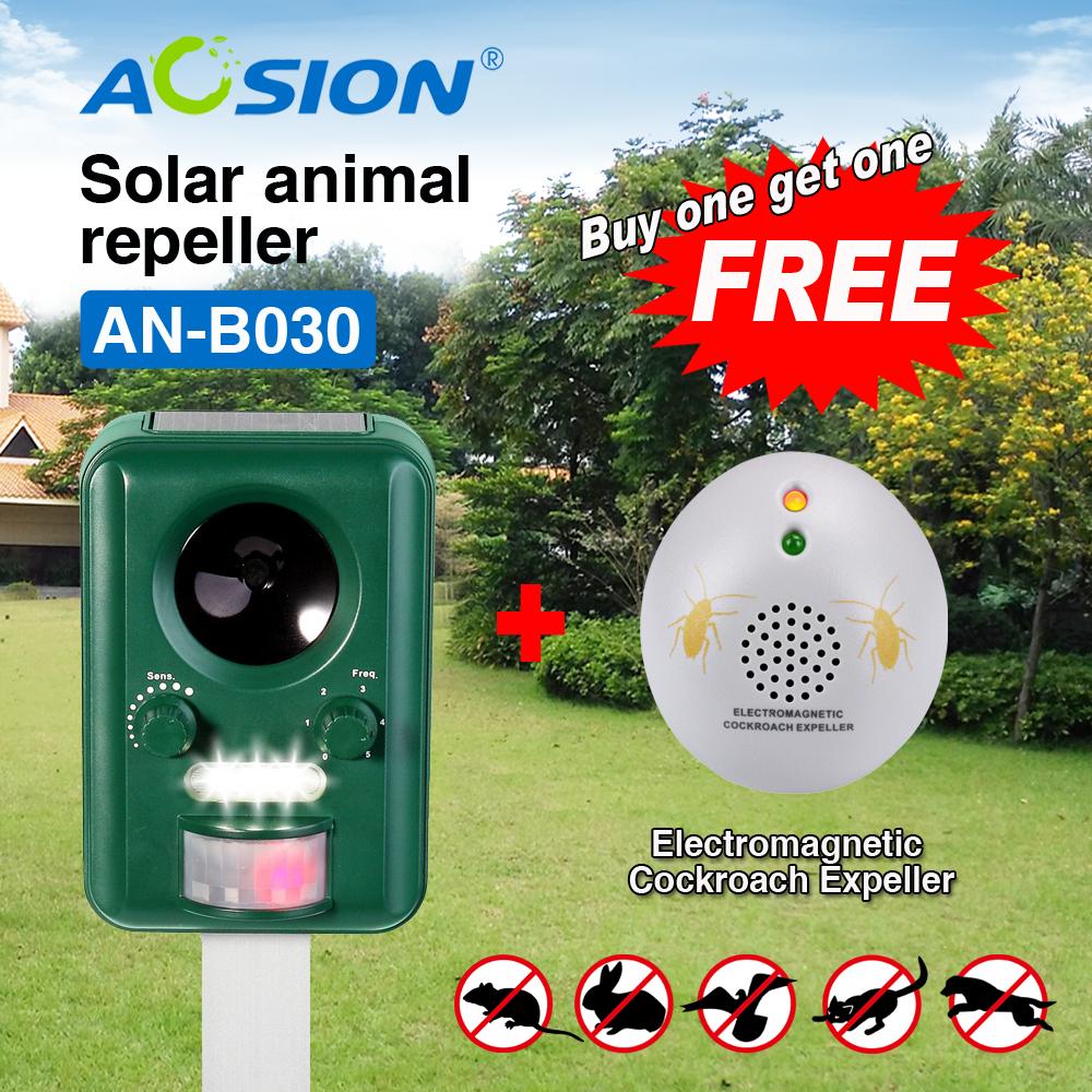 BUY Aosion Garden Solar ultrasonic animal dog cat bird bird fox repeller repellent chaser (got cockroach repeller free)(China (Mainland))