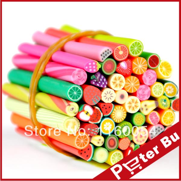 50pcs fruit shape Fimo Canes type 3D design Rods Sticks Sticker DIY Slice Tips Decoration/nail art tools(China (Mainland))