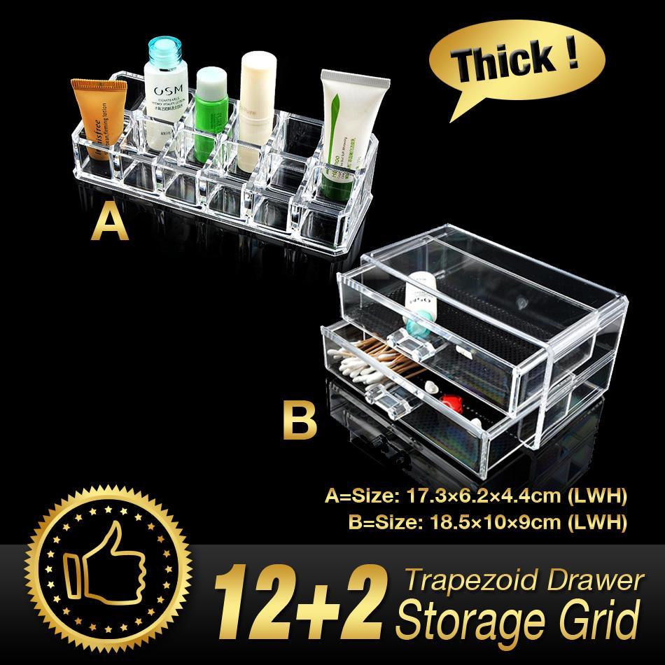 14 Grids 3 Layer Drawers Lipstick Case jewelry Box Skin Care Organizer Storage Holder Clear Acrylic Display Stand EQC388 POK(China (Mainland))