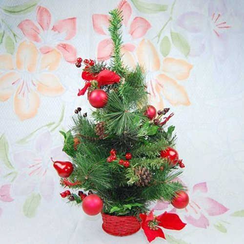 Xmas gift Decorated Pinetree Christmas with Colourful Ball and Bow