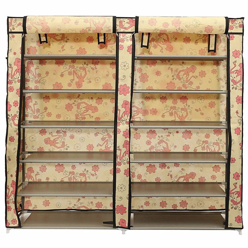 6 Layer Double Row Covered Shoes Rack Home Furniture Fabric Storage Shelf Organizer Cabinet Closet(China (Mainland))