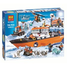 10443 Urban Arctic Series Snow Police Large Ice Breaker Ship Bricks Building Block Minifigure Toys Best  Toys(China (Mainland))