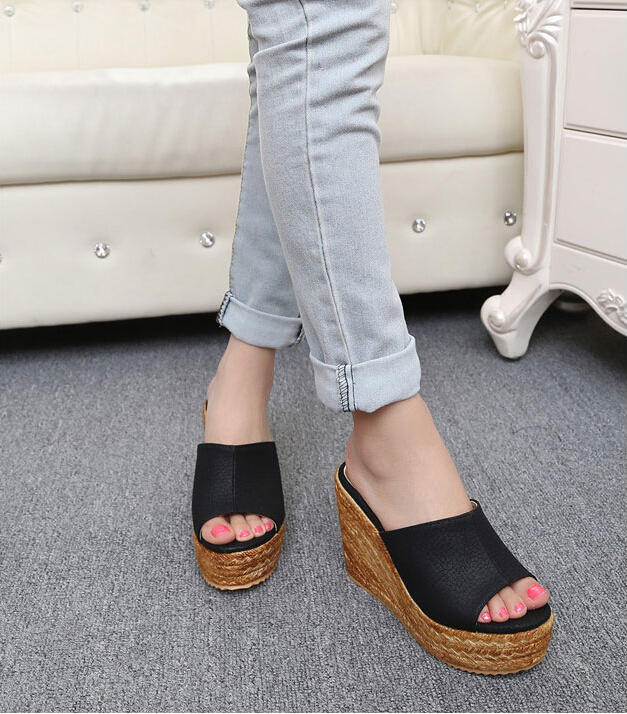 women fashion summer wedges sandals high heels beach platform Straw shoes slippers female 30 31 32 33 41 42 43 sy-1013 - Honey Bee store