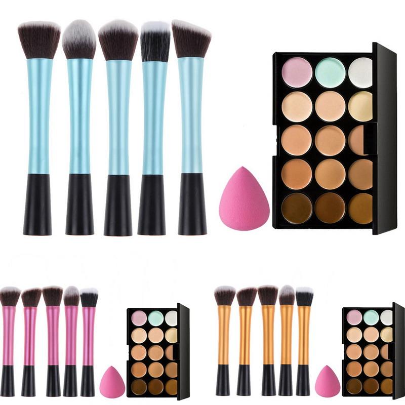 15 Colors Concealer Palette and Makeup Foundation Sponge and 5 x Makeup Brush Blue Gold Pink GUB#