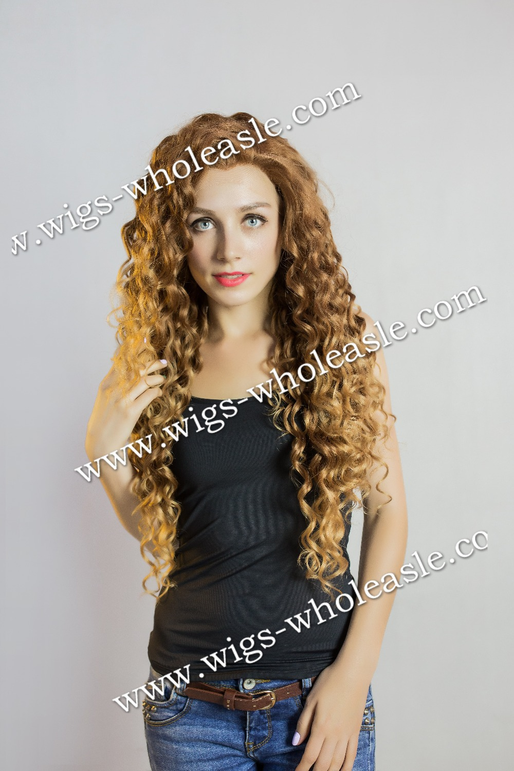 Two Tone Blonde Long Kinky Curly 26inch Synthetic Lace Front Wig<br><br>Aliexpress