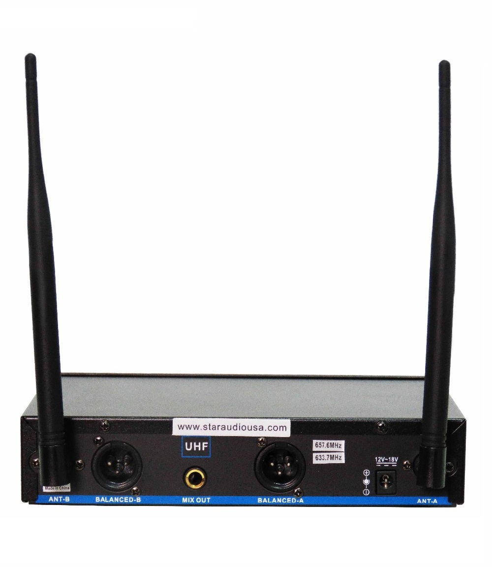 STARAUDIO SMU-0202A+B Pro PA DJ Stage Church 2 CH Wireless UHF Microphone System with Handheld / Headset Mic