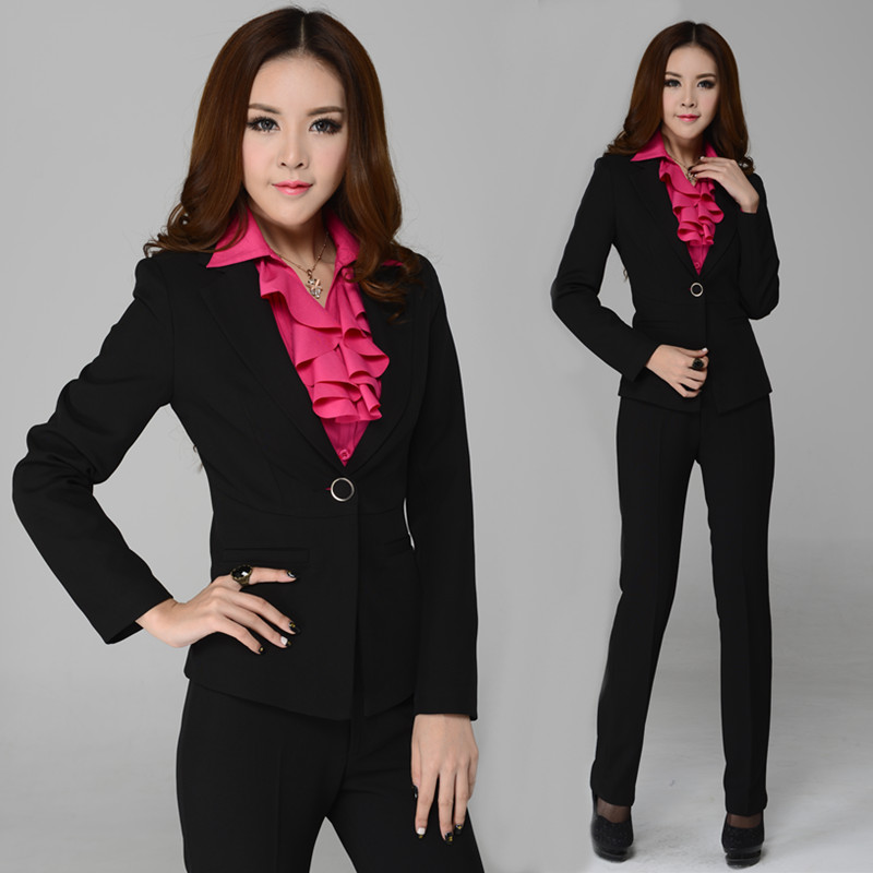 2014 Autumn Formal Pant Suits Women Business Sets Work Outfit Uniform Yellow Jackets Pants - gool girl's store
