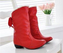 En Venta Botas de Nieve Nuevo Tamaño Grande 32-43 de Piel de Invierno Caliente zapatos Negro Rojo Moda mujer Medio Rodilla Botas Envío Gratis XB663(China (Mainland))