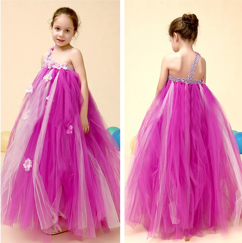 Purple Tutu Dress Flower Girl Dress One Shoulder Little Girls Evening Gown Pageant Dresses For Girls Long For Children Prom Gown(China (Mainland))