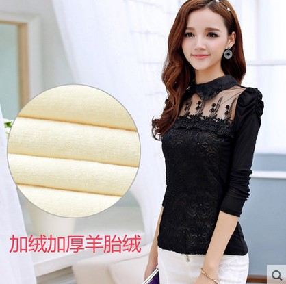 2015 new thin plus thick velvet long-sleeved shirt winter clothes women doll collar mesh openwork lace female - Shanghai, China apparel and retail co., LTD store