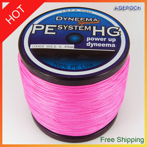 Free shipping hot sale new arrival 1000m braided fishing for Pink braided fishing line