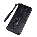 Men s Top Genuine Leather Crocodile Business Long Clutch Wallet Male s Multifunction Handbag With Belt