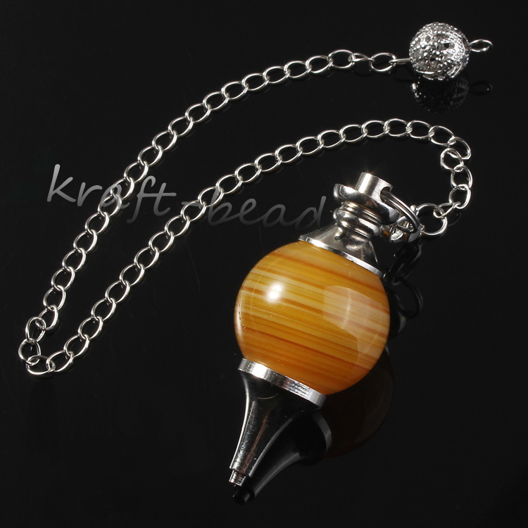 wholesale 10Pcs Charm Silver Plated Chain Stripe Yellow Agate Stone Chakra Healing Point  Dowsing Pendulum Pendant Jewelry