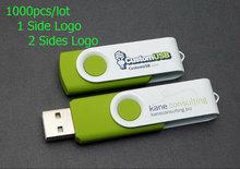 1000pcs/Lot Customized logo swivel usb flash drive 128MB 1GB 2GB 4GB 8GB 16GB 32GB Best choice Pendrive for Gift(China (Mainland))