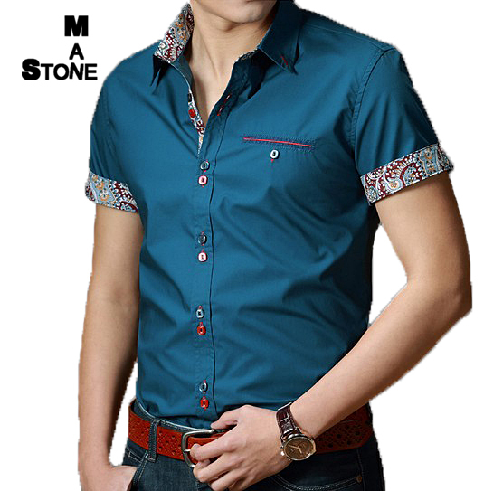 2015 Spring Brand Mens Short Sleeve Dress Shirts Men Fashion Patchwork Casual camisa slim fit Men's Social Shirts 6 COLOR smc104(China (Mainland))