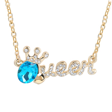 (2 Colour) Creative Fashion Letter Queen Necklaces Pendants 18K Gold Plated High Quality Rhinestone Crystal Pendant For Woman(China (Mainland))
