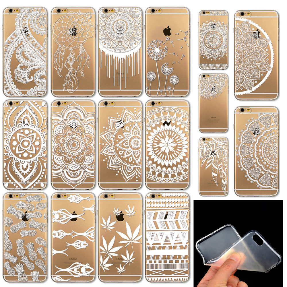 Case for Iphone 6 6s Vintage White Henna Tattoo Mandala Paisley Flowers Dream Catcher Pattern Soft