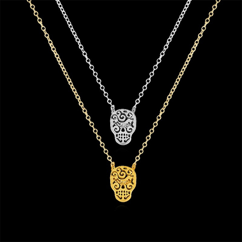 1-2016 Unique Cool Day Dead Jewelry Collier Stainless Steel Gold Layering Mexican Sugar Skull Necklace - Show store