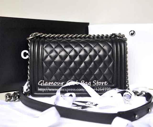 NEW 2014 Women Handbags Black Colour Vintage Plaid Chain Bag Genuine leather Women's Bags GG163(China (Mainland))
