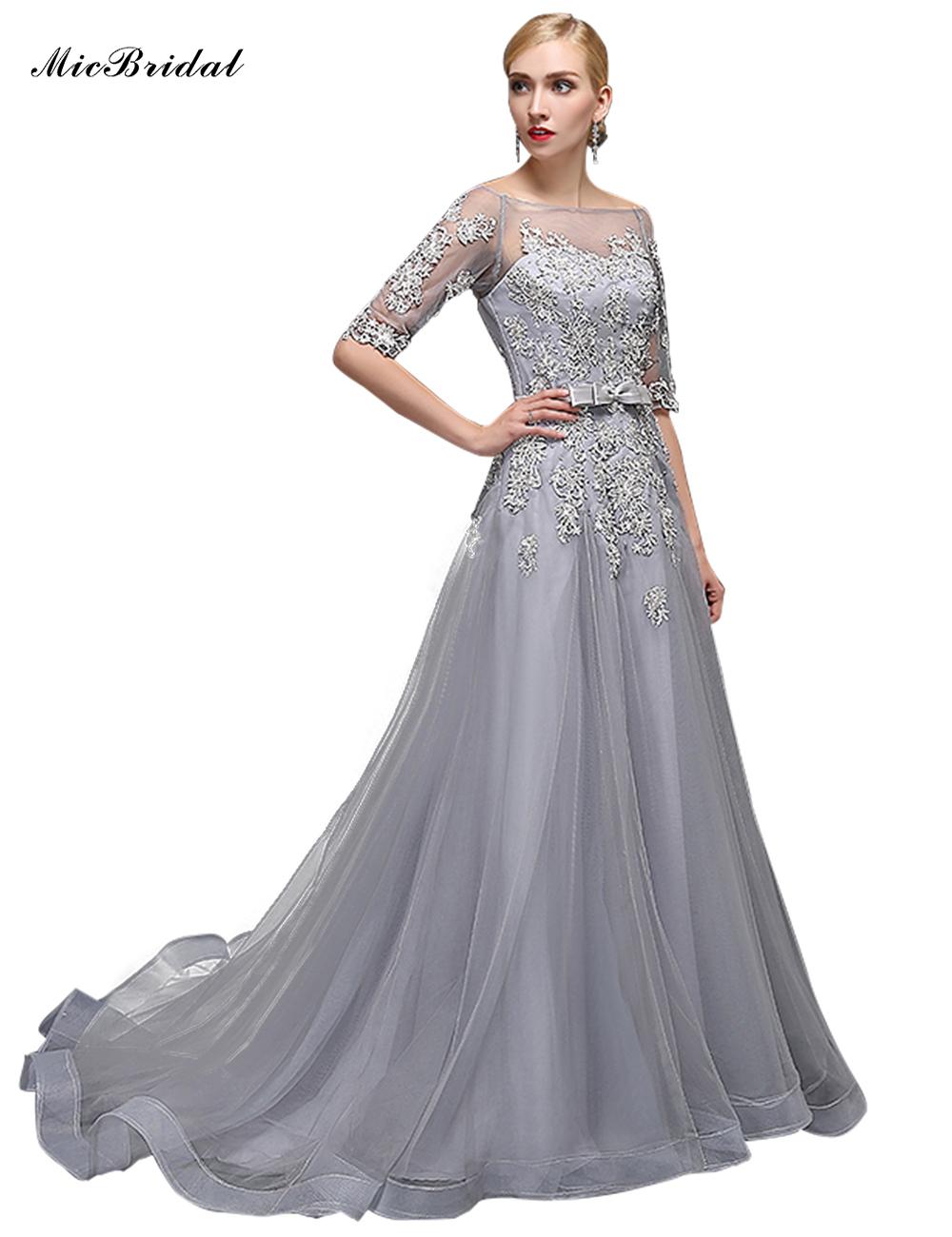 Micbridal custom made half sleeve long elegant prom for Formal wedding dresses for mother of the bride