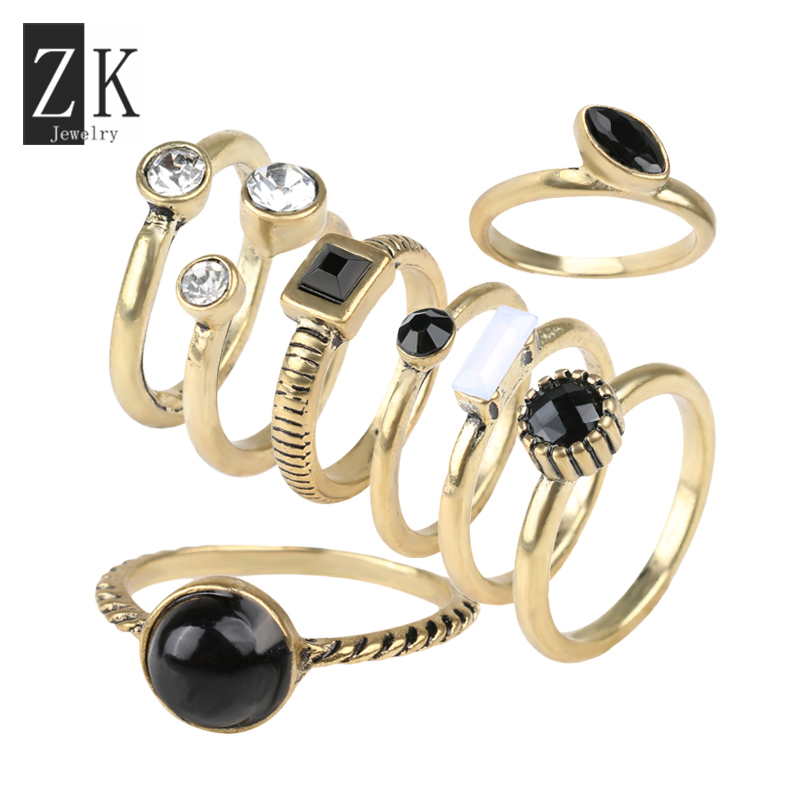 Fashion Style Above The Knuckle Ring Midi Rings Set For Women 2016 Hot Sale 8pcs Set Black