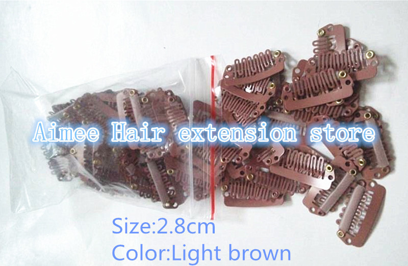 Free shipping 100pcs Light brown 2 8cm font b hair b font snap wigs clips for