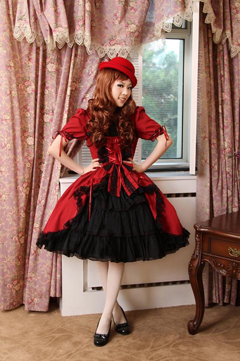 Vintage Gothic Lolita Palace Woman Multilayer Flouncing Short Dresses Audrey Hepburn Steampunk Wine Red Deep Purple Green Dress(China (Mainland))