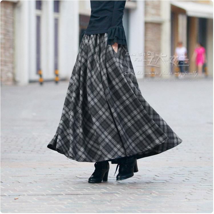 new autumn plaid maxi skirt s 2016 plus size
