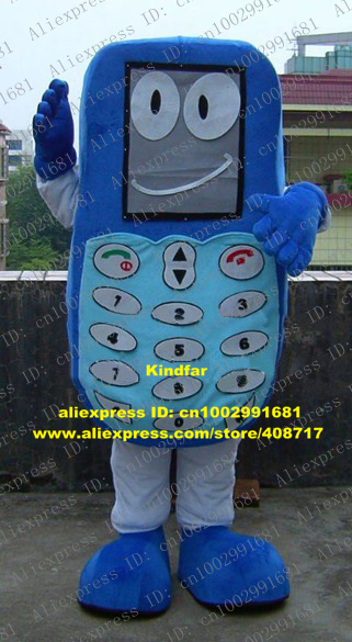Fashional Blue Mobile Phone Cellphone Cell Handset Mascot Costume With Gray Square Viewing Screen Long Mouth No.6128 Free Sh(China (Mainland))