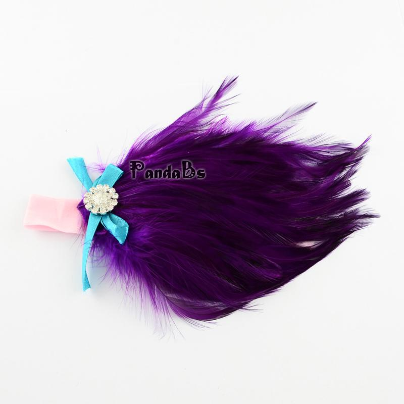 Cute Elastic Baby Girl Headbands, Dyed Feather Headbands, Purple, 100mm(China (Mainland))